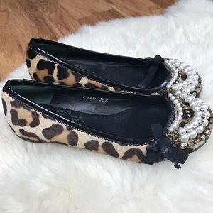 PEDRO GARCIA Embellished Leopard Calf Hair Flats